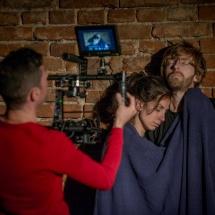 Piotr Maciejewski films Andrea Madrid Mora and Csongor Köllő in their partnership scene, ATIS 2015 NICHE, Brzezinka, photo Maciej Zakrzewski